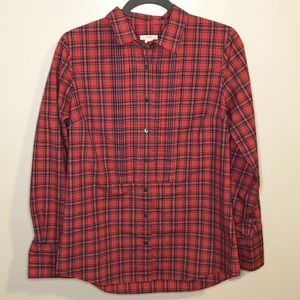 J. Crew red plaid pintuck button down shirt